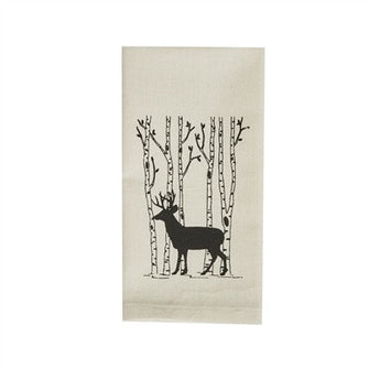 Birch Tree & Deer Printed Dishtowel