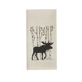 Birch Tree & Moose Printed Dishtowel