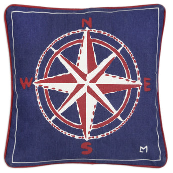Compass Rose Canvas Pillow