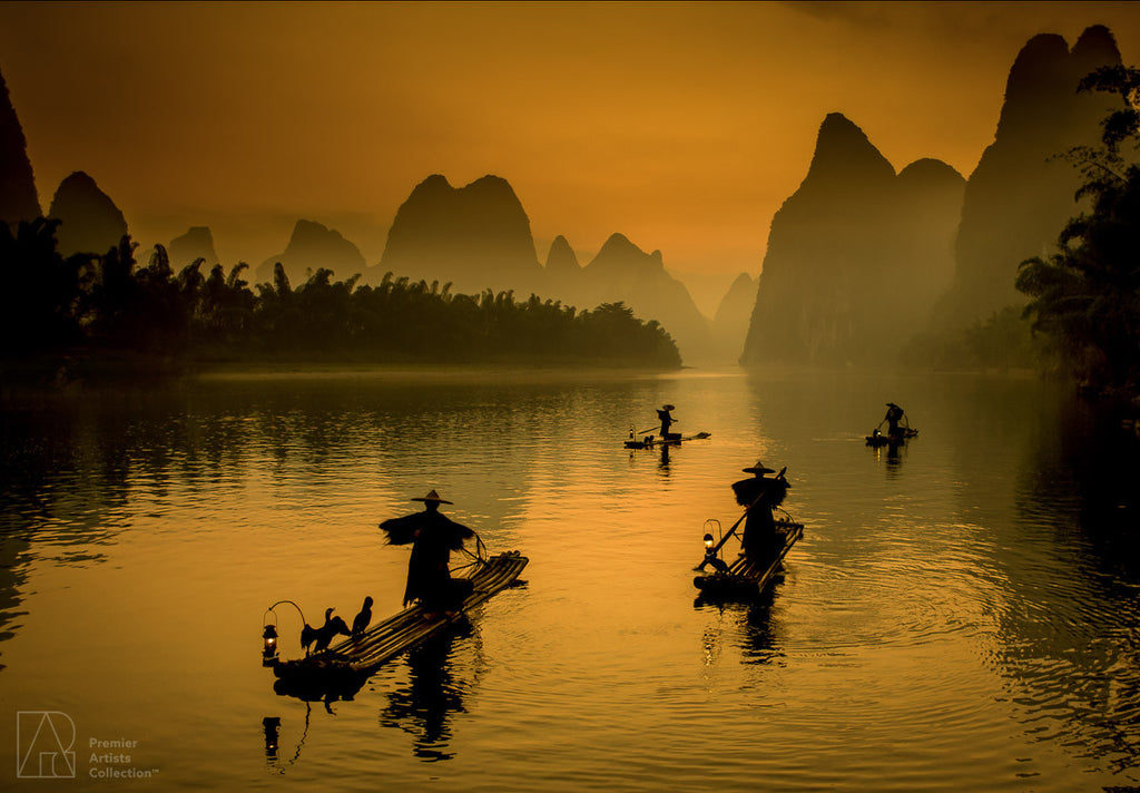 Guilin Fishermen at Sunrise - Peter Levshin