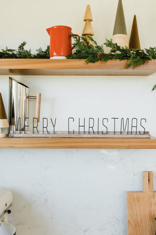 Merry Christmas Metal Mantel Decor