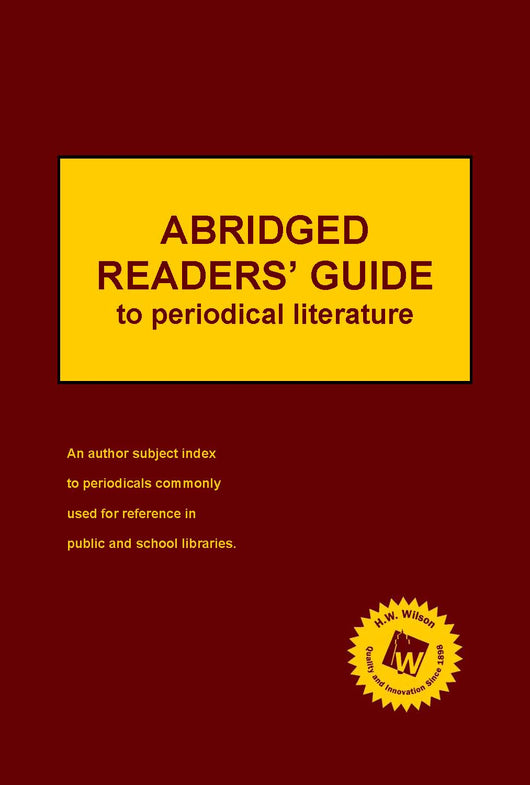 Abridged Readers' Guide to Periodical Literature (2021 Subscription)