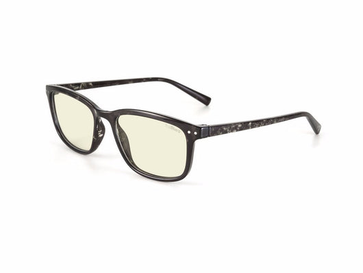 Associate black tortoise frame with blue light filtering reading lens