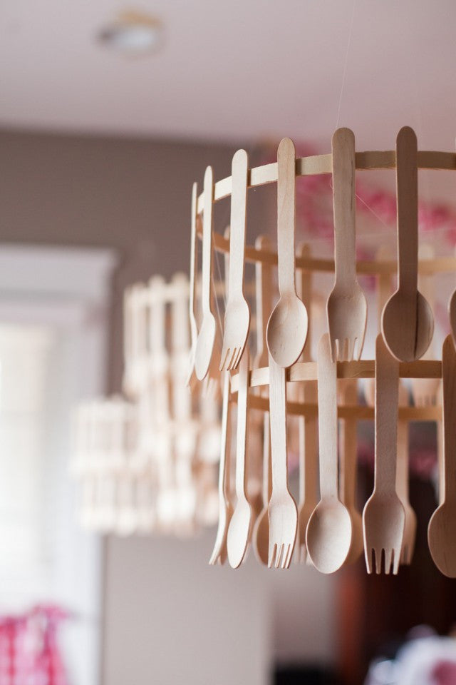 Wooden Cutlery diy chandelier
