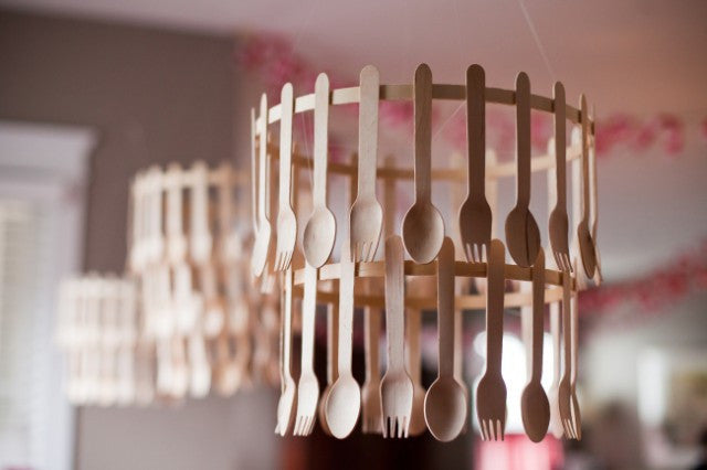 wood cutlery diy party chandelier