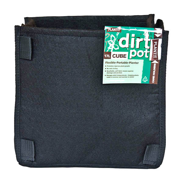 PLANT!T Square Base DirtPot 17L - Pack of 10 with Handles - 5 Gallon