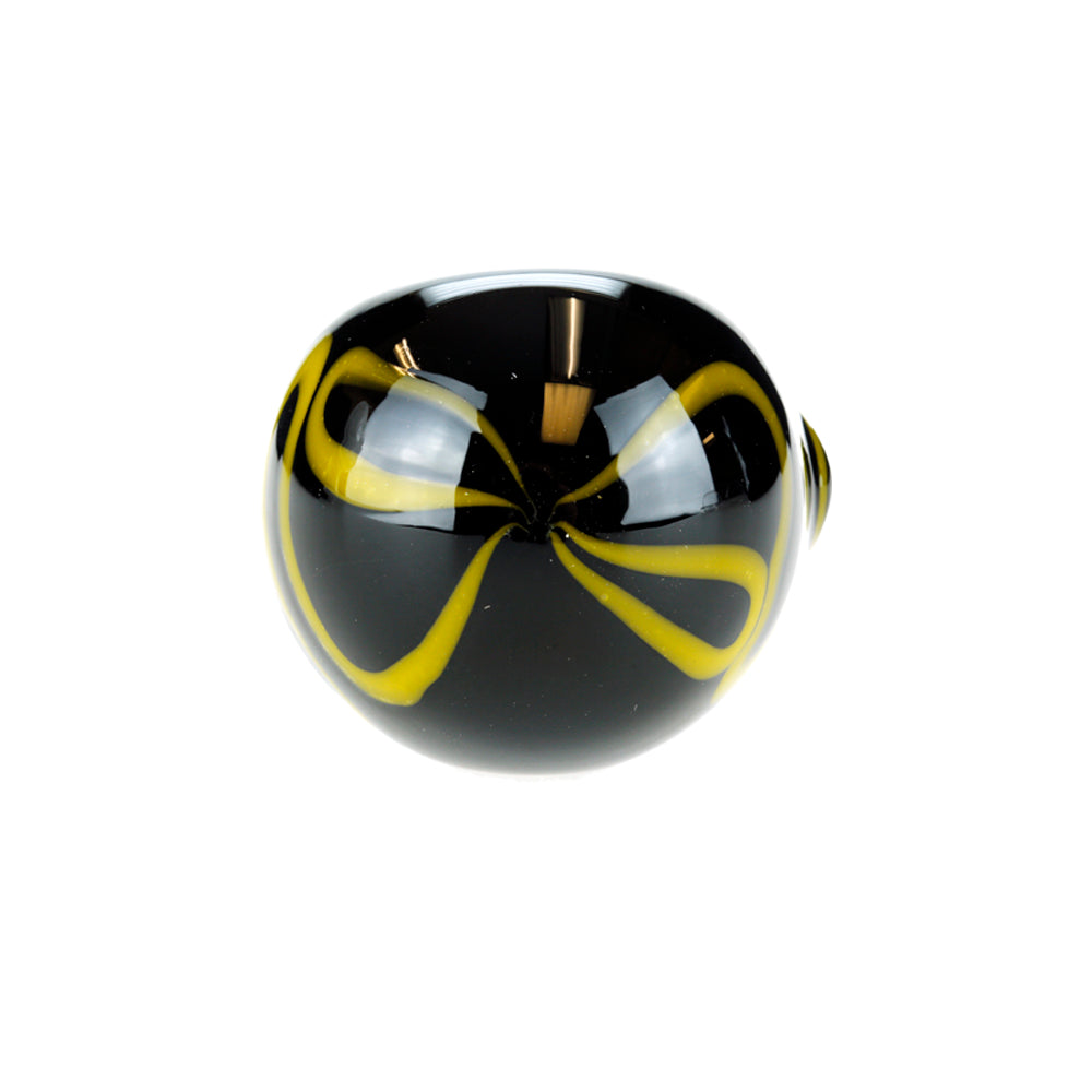 Black with Yellow Squiggles Glass Spoon Pipe