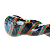 Red and Green Twisted Glass Pipe