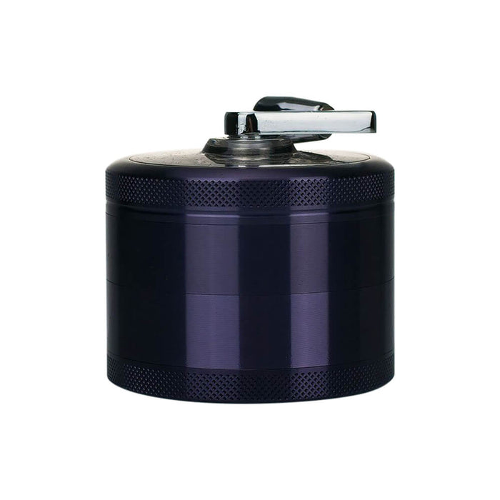 4-Piece Herb Grinder Sifter with Rotary Crank Handle Purple