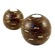 Round Coconut Marquetry Candle Holder