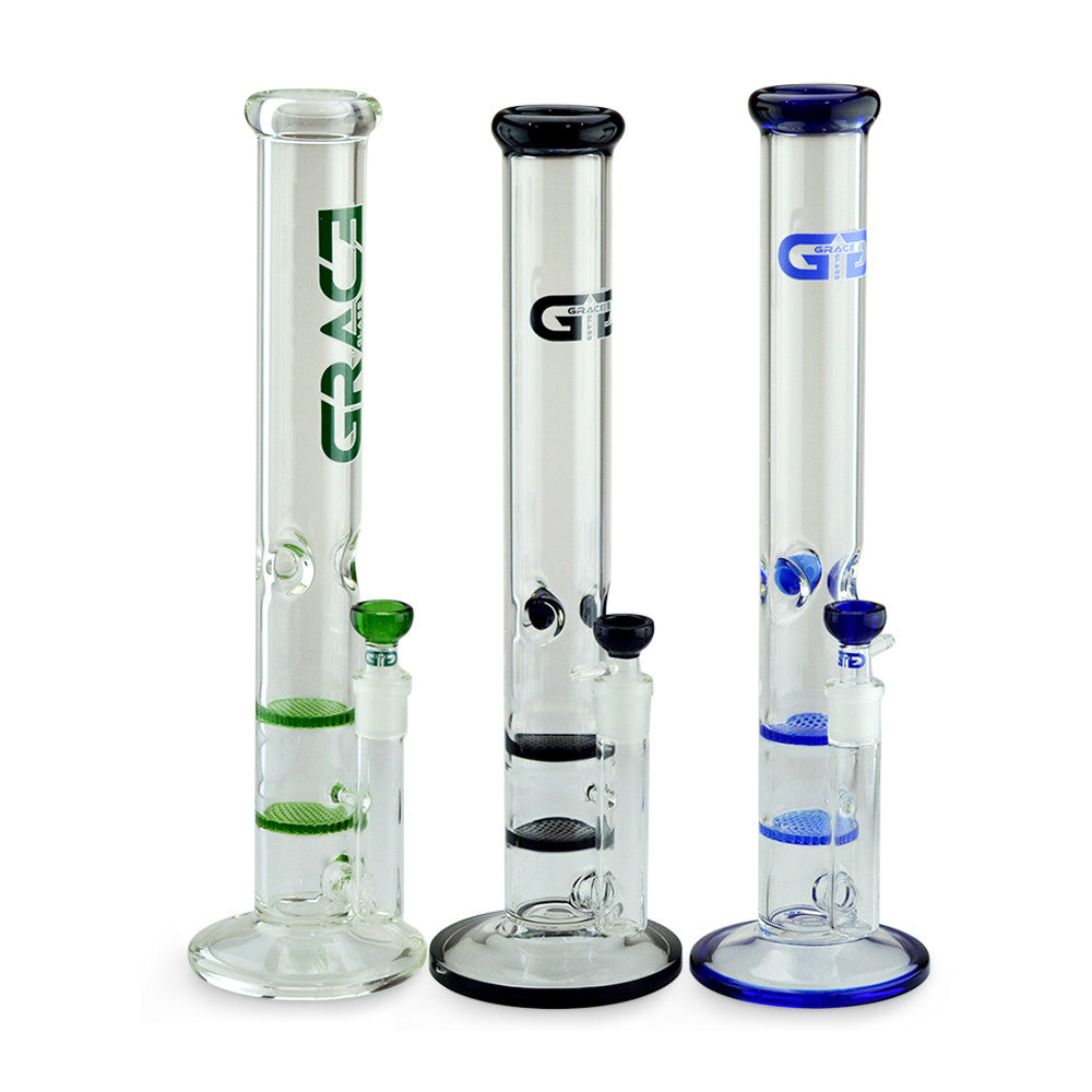 Straight Tube Bong with Fixed Inline and Honeycomb Perc