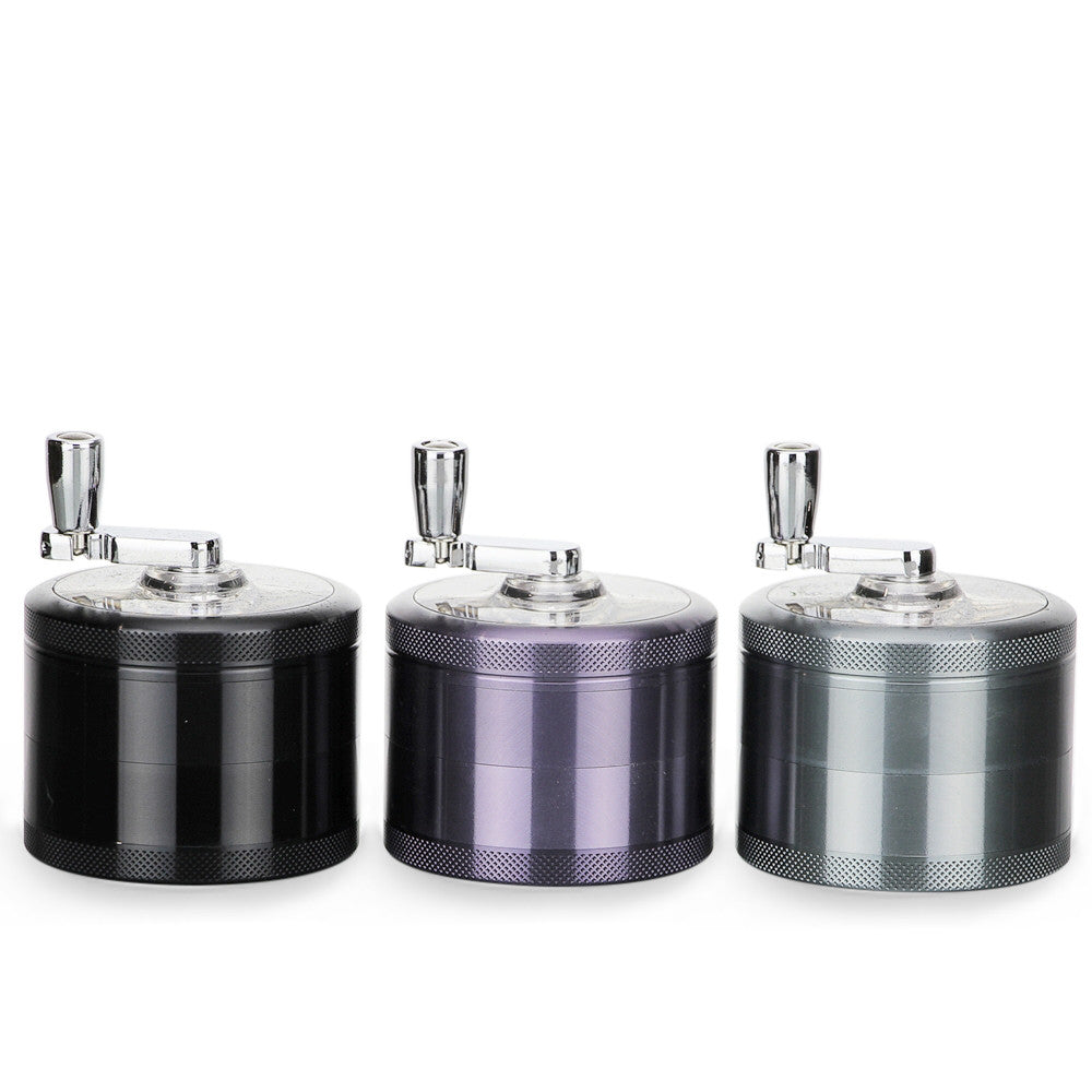 4-Piece Herb Grinder Sifter with Rotary Crank Handle Gunmetal Group