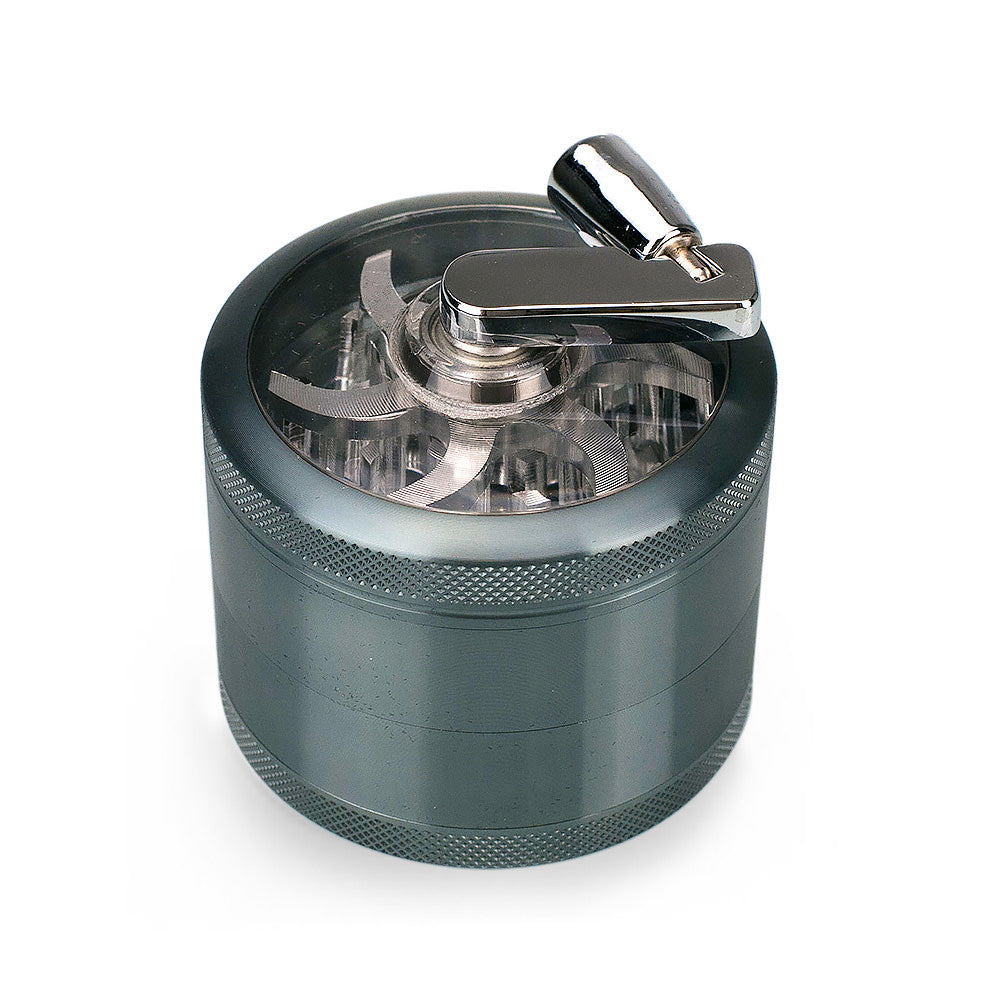 4-Piece Herb Grinder Sifter with Rotary Crank Handle Gunmetal