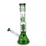 Beaker Bong with Spiral Perc Splash Guard and Ice Notch and Bubbled Detail Green
