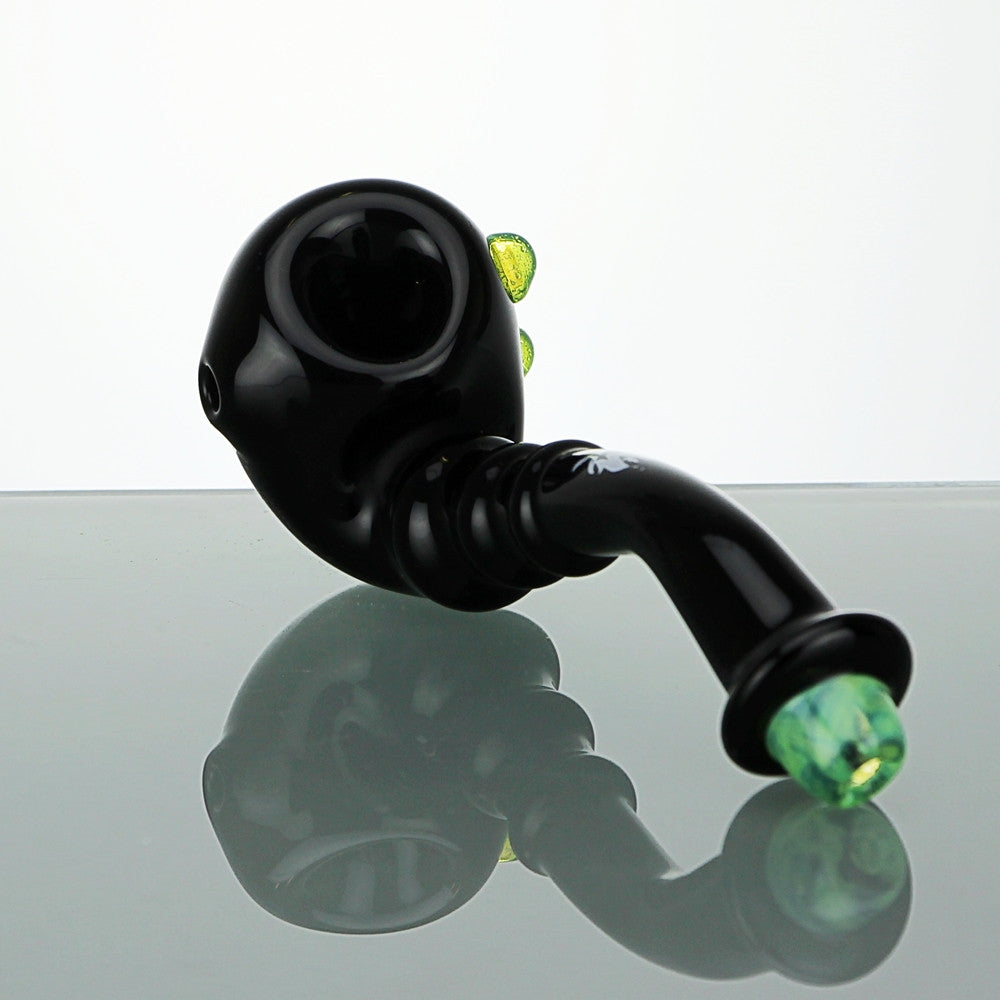Black Sherlock Handpipe With Slyme Accents
