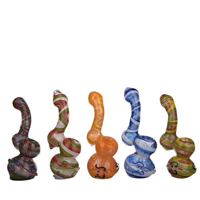 Lizard Design Multi Coloured Glass Bubbler