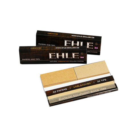 Natural Unbleached Rolling Papers and Tips King Size by EHLE