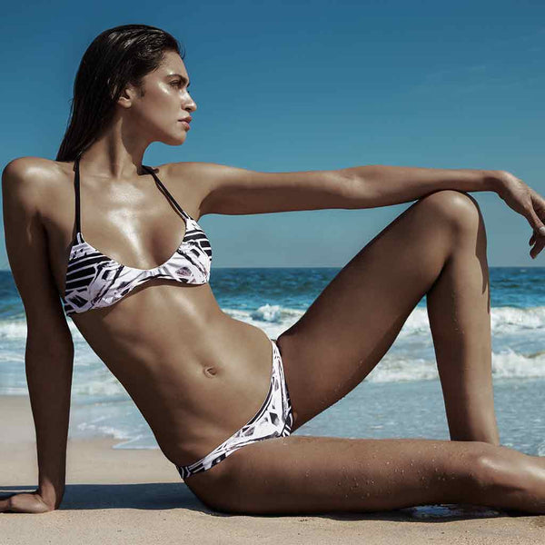 This Is Our Sophia Sporty Hipster Bikini Bottoms Worn With Jill Racerback Bikini Top In Black Art Printed By Jenny Hager