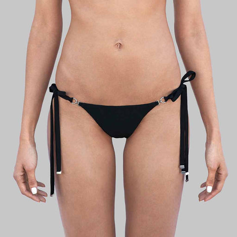 "This is our  ""Chameleon"" Triangle Halter Brazilian Bikini Bottoms With Adjustable Side Ties With Metal Ends In Signature Black Matte Finish Fabric"