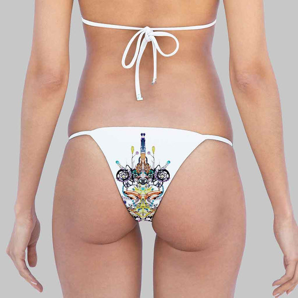 This is our kelly side-ties brazilian cut bikini bottom in exclusive print by debra hampton in amethyst color