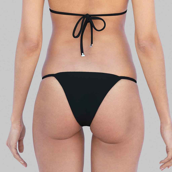 This is our kelly side-ties brazilian cut bikini bottom in black color matte finish fabric