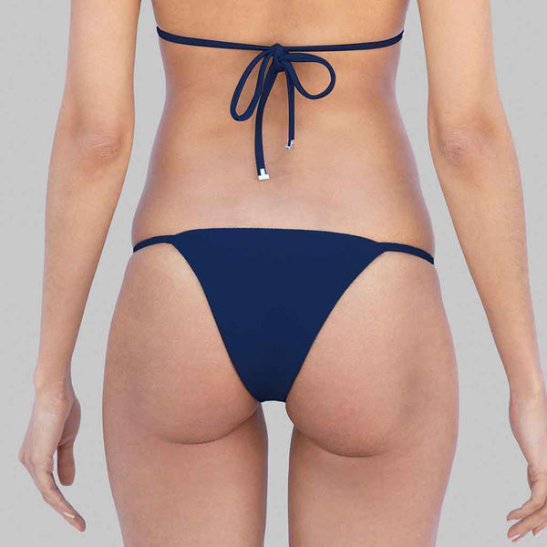 This is our kelly side tie brazilian cut bikini in navy matte finish fabric
