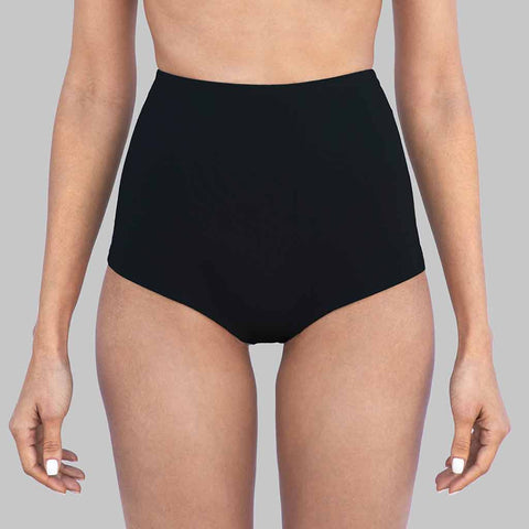 This is our kim highwaist cheeky bikini bottom in black matte finish fabric