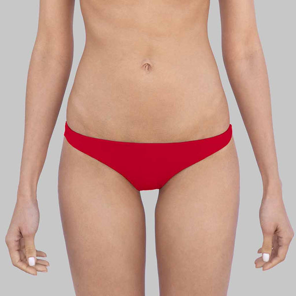 This is Sophia Cheeky Hipster Bikini Bottoms In Crimson Color Matte Finish Fabric