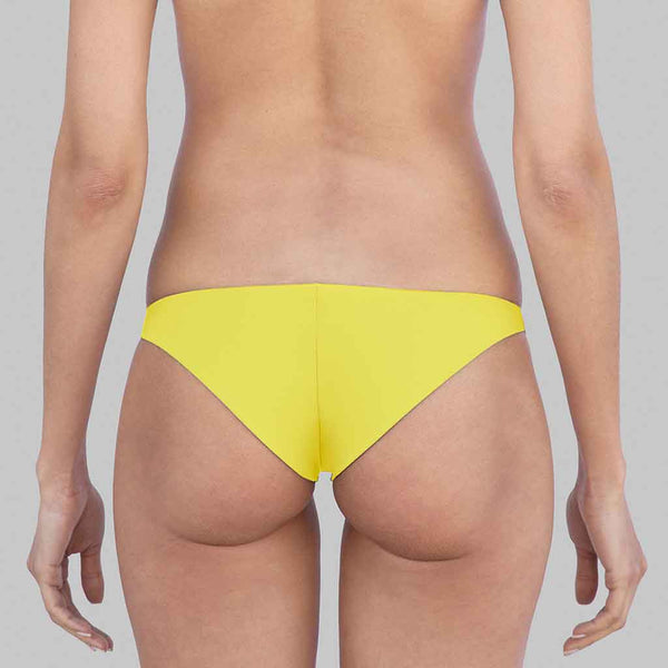 This is Sophia Cheeky Hipster Bikini Bottoms In Yellow Color Matte Finish Fabric