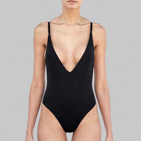This is our Raven one-piece swimsuit in black matte finish fabric