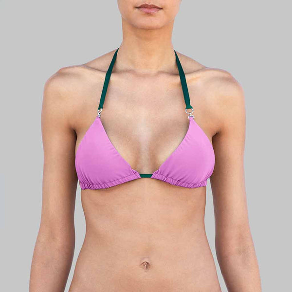 "This is our  ""Chameleon"" Triangle Halter Brazilian Bikini Top With Adjustable Straps With Metal Ends Signature Matte Finish Fabric In Color Purple"