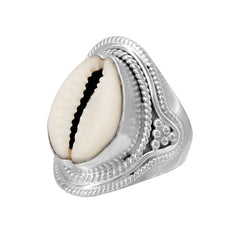 Ethnic Cowry Ring Silver