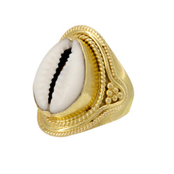 Ethnic Cowry Ring Gold