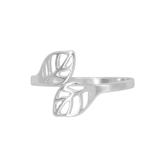 Anillo Heavy Leaves Silver
