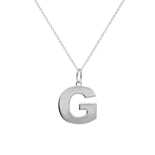 Collar Large Initial Silver