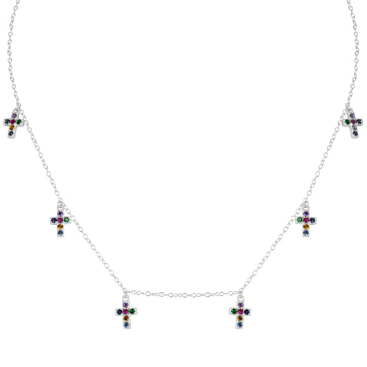 Collar Six Cross Colors Silver