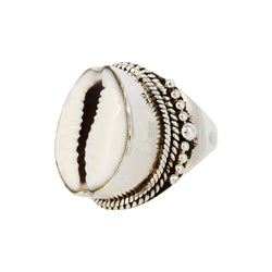 Anillo Double Ethnic Cowry Silver