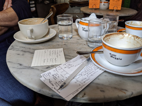 Cafe table with cappuccinos