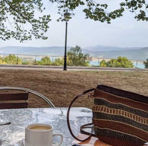 Overlooking Lake Yesa from a table with coffee