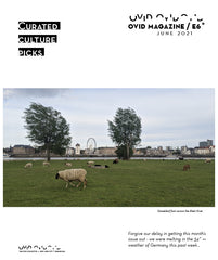 Image of a sheep near a river with a ferris wheel in the background and two large trees. Text says, Ovid Magazine June 2021 Curated Culture Picks.