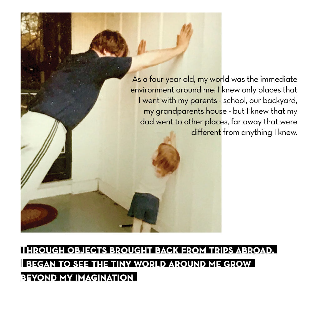 Image of a toddler looking up at her father as he stretches for a run. Text about small objects from faraway places and the meaning they carry.