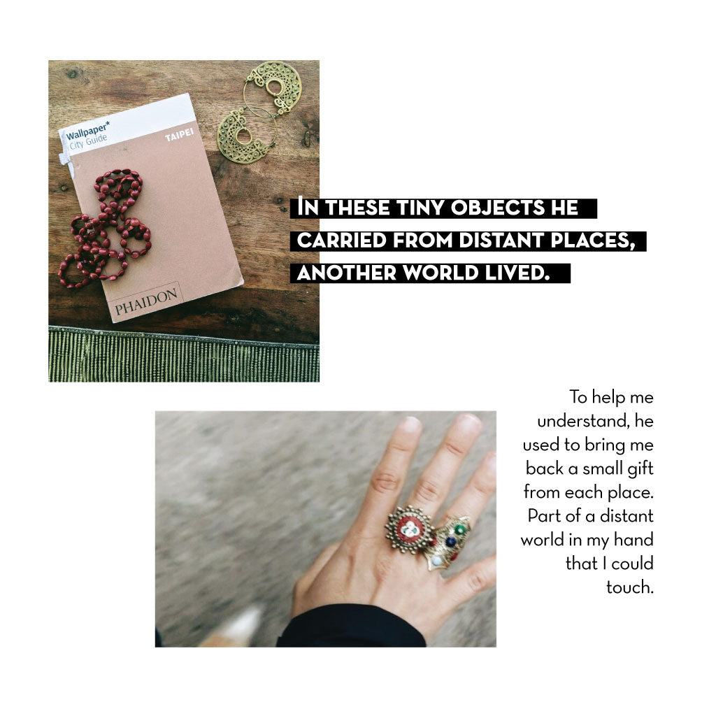 Image of travel book from Taipei, gold earrings, and a hand with two rings on it. Text talks about discovering the world through souvenirs.