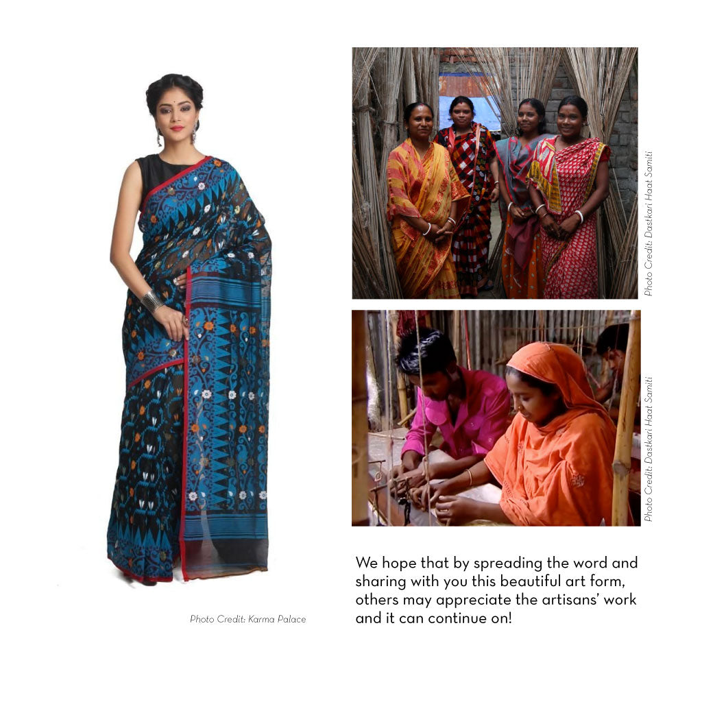 Women in saris and a woman at a loom