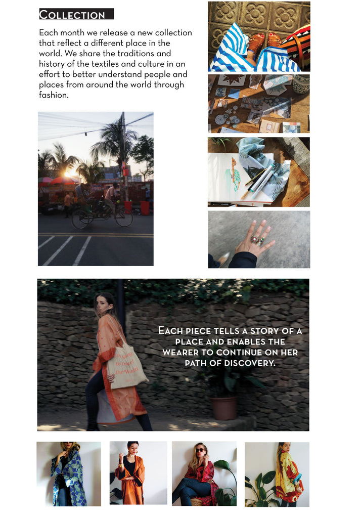 Group of images - person on a bike, cut out photos of morocco, a fashion illustration, a hand with two rings, and four fashion images of a kimono