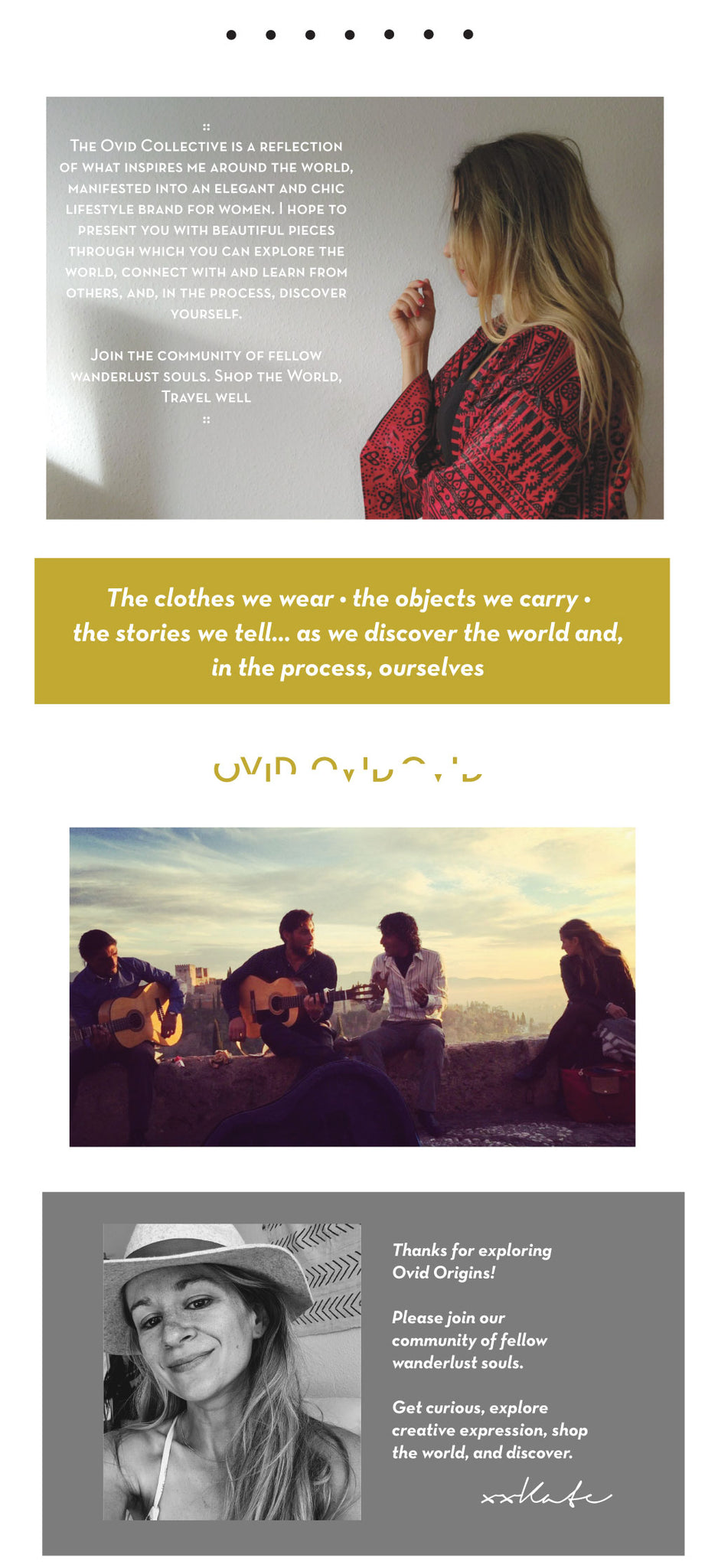 Three images - a woman in a red African kimono in profile, a woman with three flamenco guitarists, a woman in a hat.