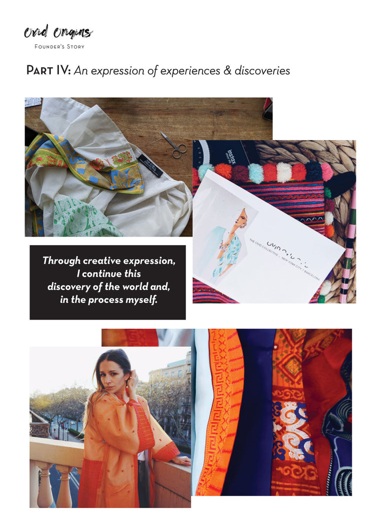 A group of images - a kaftan with a label, colorful fabric, a postcard with a fashion illustration, a woman in an orange kimono
