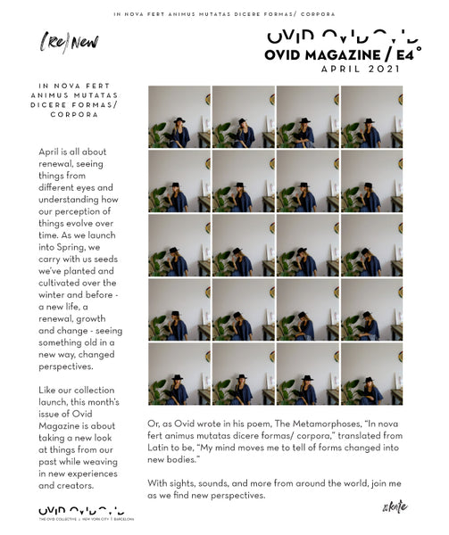 Ovid Magazine Cover Page - 4x5 grid of the same image of a woman sitting against a white wall with a black hat on.