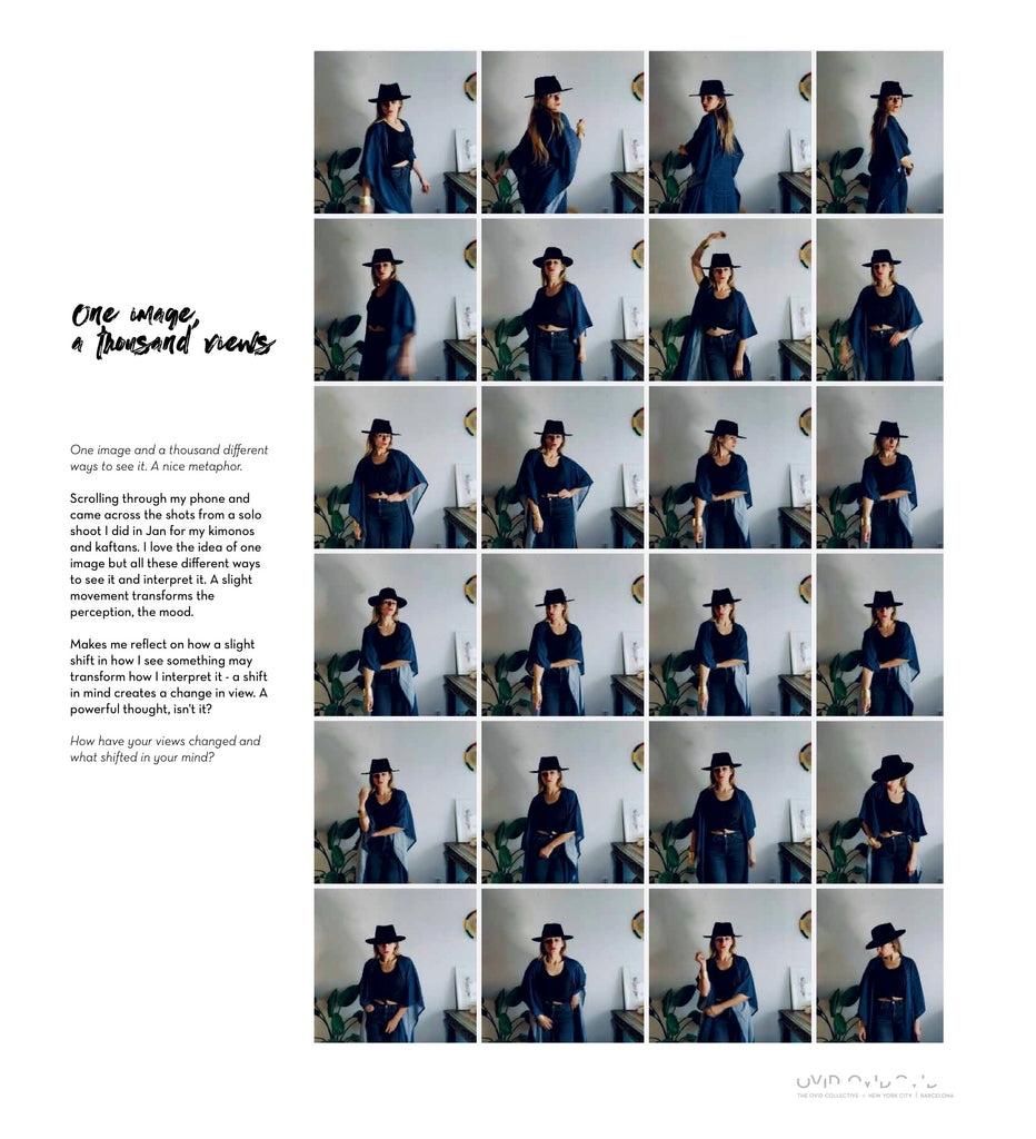 """Image with 24 small squares of similar images in a row and column with text saying, """"One image and a thousand different views"""""""