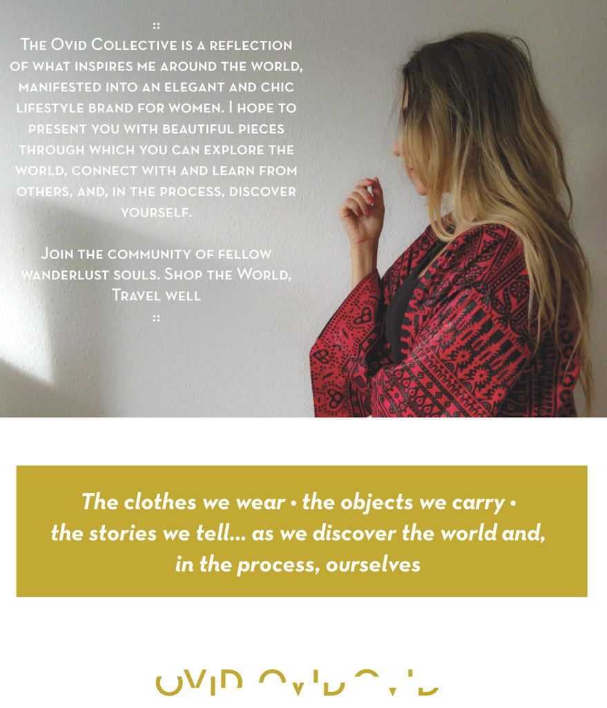 Founder's note about sustainable ethical globally inspired boho fashion brand