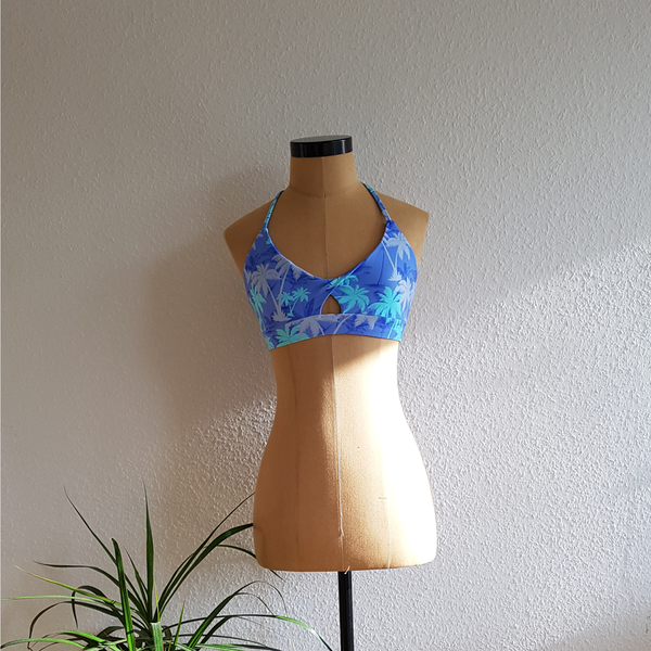 Blue Palm Printed Sporty Bra Top